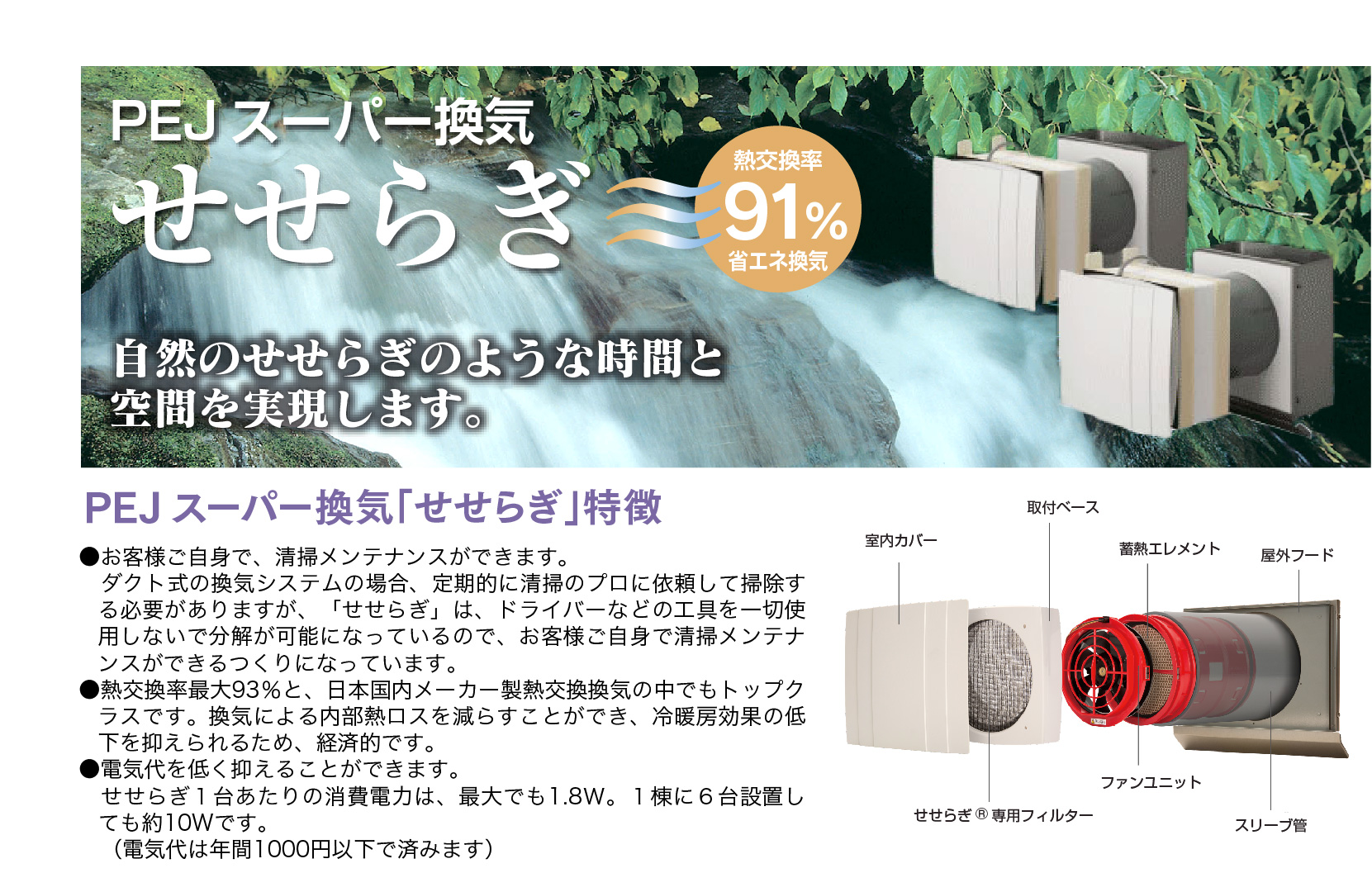 ダクトレス熱交換換気システム